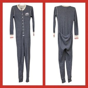 Roots Cabin Canada Onesie Union Suit Long Johns Pyjamas Grey Waffle Knit Red XS